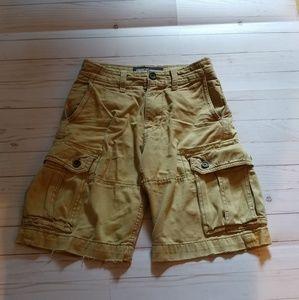 American Eagle Cargo Shorts-26-mustard/tan